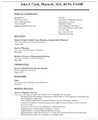 Hospital Pharmacist Curriculum Vitae