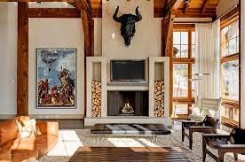 Rustic Living Room Decor With Smart Log Fireplace Storage Ideas Simple Indoor