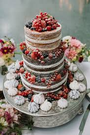 Rustic Naked Wedding Cake With Roses Weddingcake Ideas
