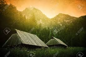 100 Houses In Nature Small Wooden Houses Under Mountain In Mountains Grunge