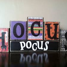 Halloween Decor Sign Wood Hocus Pocus Blocks