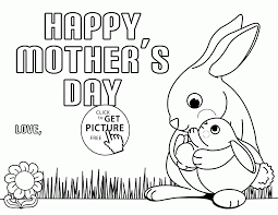 Cute Bunny For Mothers Day Coloring Page Kids Pages And Mother Printable