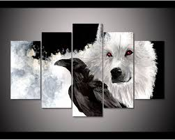 Framed HD Print 5pcs Game Of Thrones Snow Ghost Canvas Wall Art Painting Home Decor