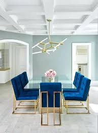 Contemporary Dining Room Chairs Amazing Sapphire Blue Velvet Tufted