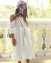 Girls White Over The Shoulder Bohemian Style Dress Toddlers Boho Summer