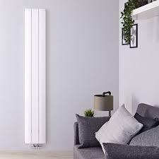 design heizkörper vertikal einlagig mittelanschluss aluminium weiß 1800mm x 280mm 1038w