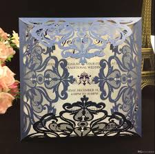 2018 Navy Blue Free Printed Wedding Invitations Cards With Hollow Out Rustic Laser Cut Invatation Card Flowers Elegant Party Invites Anniversary