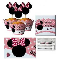 24 pcs bande dessinée minnie joyeux anniversaire gâteau gâteau