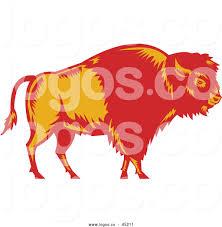 Vector Logo Of Retro American Buffalo Bison