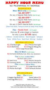 Menu at Manpuku Japanese Steakhouse & Sushi Bar Bowling Green