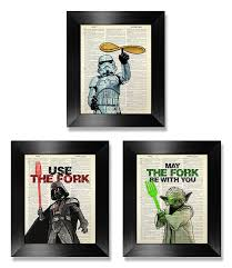 wars poster set of 3 print wars kitchen gift for kitchen wall set of three decor darth vader artwork