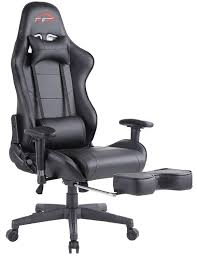 Top Gamer Ergonomic Gaming Chair High Back Swivel Computer Office Chair  With Footrest Adjusting Headrest And Lumbar Support Racing Chair (Black)