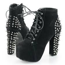 womens spike studded goth punk rock platform high heel shoes lace