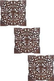 3er set orientalisches wandbild wanddeko bahir braun 40cm aus holz orientalische vintage wanddekoration für wohnzimmer schlafzimmer oder küche