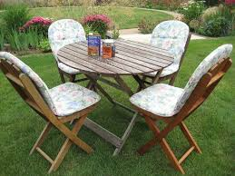 Wooden Patio Table, 4 Folding Chairs Plus Cushions And Teak Oil | In Diss,  Norfolk | Gumtree