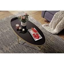 wohnling couchtisch glas schwarz oval 110x56 cm metallgestell großer wohnzimmertisch lounge tisch glastisch