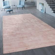 handgefertigter vintage teppich einfarbig rosa pastell