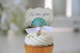 Let Love Grow Succulent Wedding Cupcake Toppers Bridal