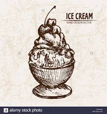 Digital vector detailed line art sundae ice cream in glass bowl hand drawn retro illustration collection set Thin artistic pencil outline Vintage in