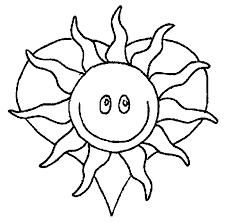Happy Sun And Heart Coloring Pages