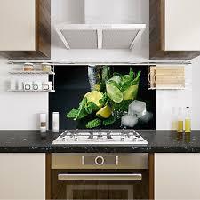 spritzschutz herd küche cocktail zitrone schwarz glasrückwand esg glas wand ebay