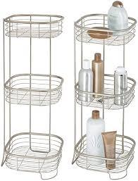 mdesign 2er set freistehendes badregal aus metall rostbeständiges badezimmer regal mit drei ebenen für handtücher shoo und seife
