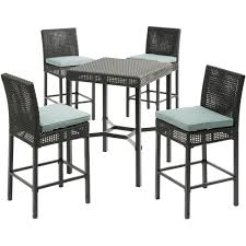 Hanover Malta 5-Piece Wicker Outdoor Bar Height Dining Set With 4  Counter-Height Woven Chairs With Blue Cushions Kitchen Design Table Set High Top Ding Room Five Piece Bar Height Ideas Mix Match 9 Counter 26 Sets Big And Small With Bench Seating 2018 Progressive Fniture Willow Rectangular Tucker Valebeck Brown Top Beautiful Cool Merlot Marble Palate White 58 A America Bri British Have To Have It Jofran Bakers Cherry Dion 5pc