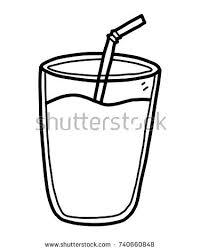 Glass Milk Water Cartoon Vector Illustration Stock Vector