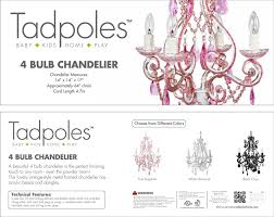 Amazon Tadpoles 4 Bulb Vintage Plug In Mini Chandelier Pink For Girls Room Baby