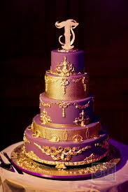 Gold And Purple Wedding Cakes Photo