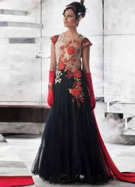 blooming black embroidery work net evening gown buy long gowns
