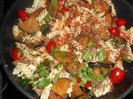 recette de fusilli viande hachée et aubergine