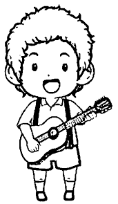 Playing The Guitar Coloring Pages
