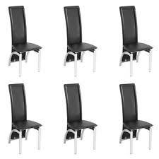 Set Of 6 Faux Leather High Back Dining Chairs