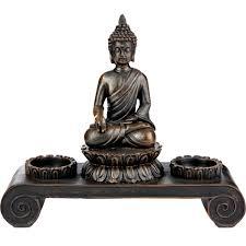 svita buddha figur mit zwei teelichthaltern statue skulptur deko dekoration 20 cm