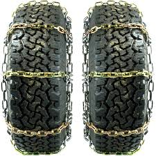 Titan HD Alloy Square Link Tire Chains On Road Ice/Snow 8mm 11-24.5 ...