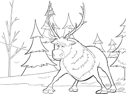 Sven Coloring Page Frozen Book Throughout Disney