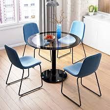 jeffordoutlet runder esstisch stühle küche schwarzes metall esszimmer set glasplatte glastisch 4 stühle