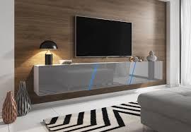 tv lowboard space in grau hochglanz lack tv unterteil hängend stehend board 240 cm mit led