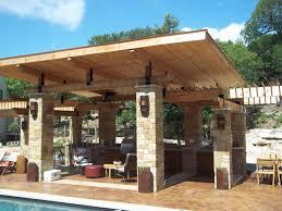 Extravagant Outdoor Covered Patio Design Ideas Using Stone Pillars
