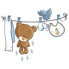 stickers fil a linge stickers pour enfants ours et oiseau sur la corde à linge