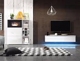 wohnwand mit biokamin lowboard tv schrank sideboard wohnzimmer set freya weiß matt weiß hochglanz