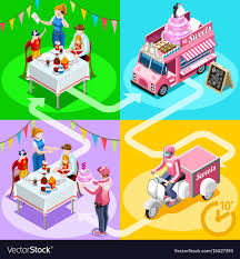 100 Truck Birthday Cakes Food Truck Birthday Cake Home Delivery Isometric Vector Image