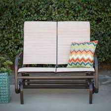 Patio Furniture Loveseat Glider by Outdoor Glider Patio Chair Loveseat With Padded Sling Seats In