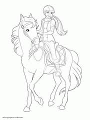 Free Download Coloring Page Barbie Pony Tale