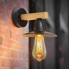wandle schwarz retro wandleuchte holz vintage innen e27 wandbeleuchtung industrie design innenbeleuchtung für schlafzimmer flur treppenhaus hotel
