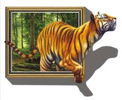 3d Wall Art Dogs Removable Large Size 3D Tiger Stickers Home Decals Room New