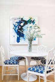 yellow and blue abstract contemporary dining room