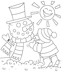Winter Coloring Sheets For Kids Easy Snowman Pages