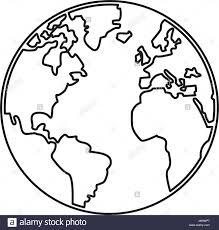 World Outline Illustration Outline Drawing Planet Stock World Map